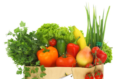 shopping bag filled with healthy food