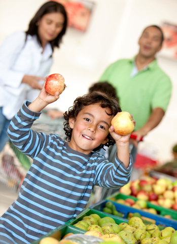 A child with produce
