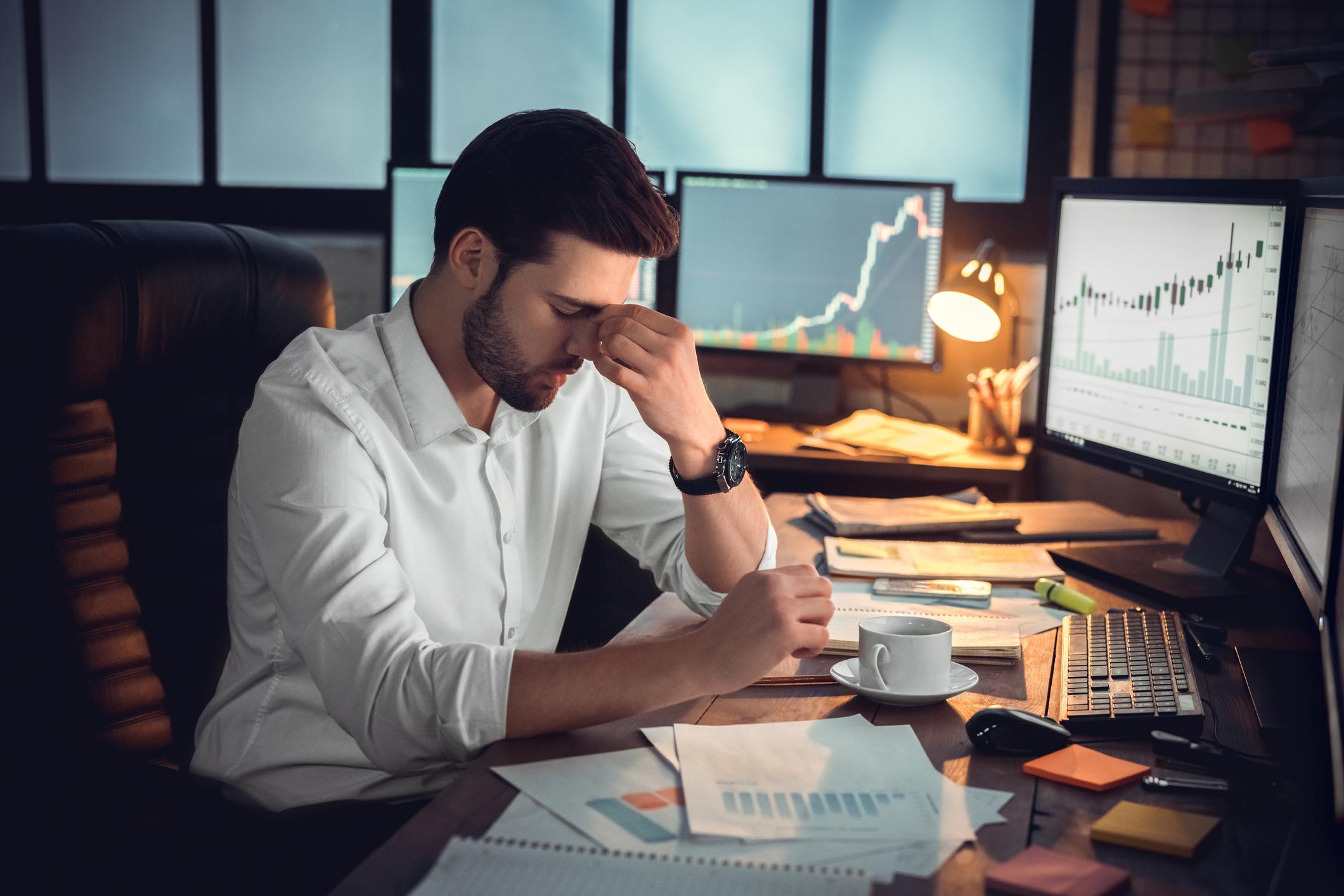 Man showing episodic acute stress at work