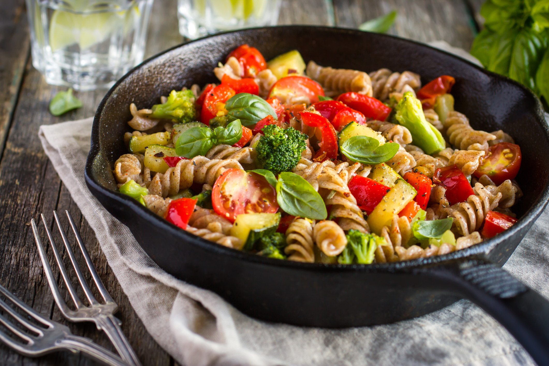 Pasta mixed with vegetables is one way to create a dish.