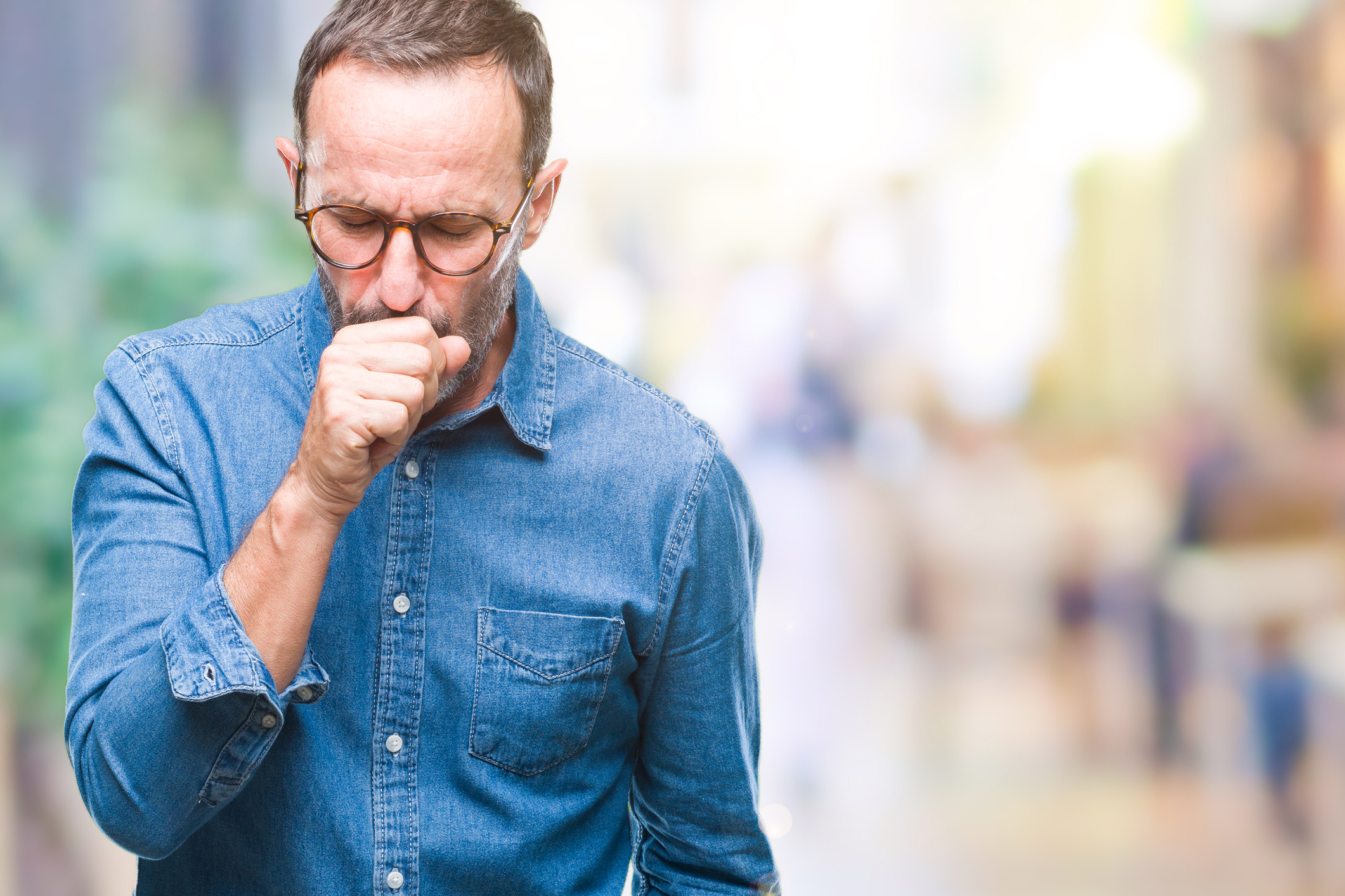 Man wheezing which may be a symptom of heart failure