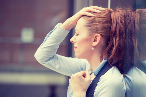 Woman trying to conquer stress