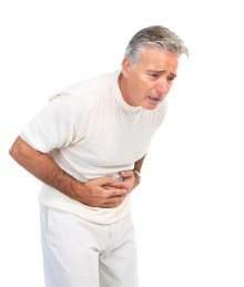 Man with stomach pain from diverticulitis