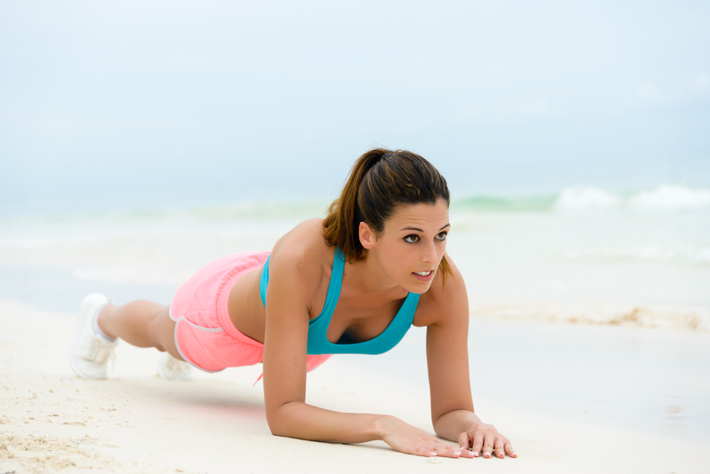 Woman performing an isometric exercise