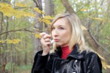 Woman suffering from anxiety induced asthma